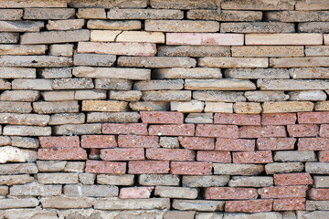 Old colorful brick wall, background texture