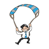 Businessman parachute poster