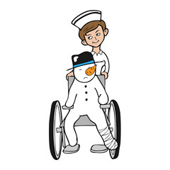 Nurse wheel chair snowman