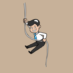 Businessman hangs rope