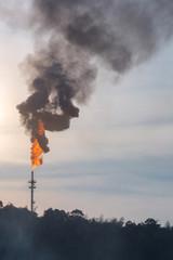Oil Distillation tower with polution