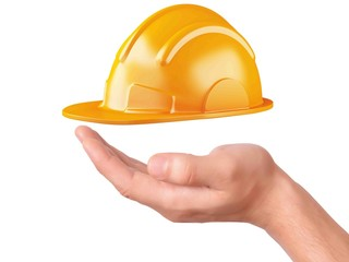 hand hold Construction Helmet on white background
