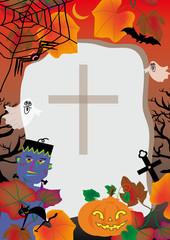 ハロウィンのお墓とフランケンシュタインとカボチャ