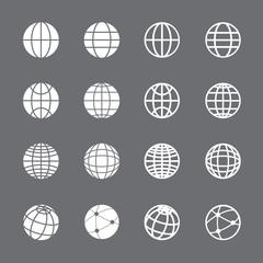 globe icon set, vector eps10