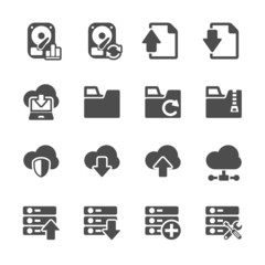 hosting and cloud computing icon set, vector eps10