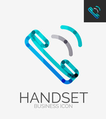 Minimal line design logo, phone handset icon