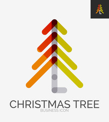 Minimal line design logo, Christmas tree icon