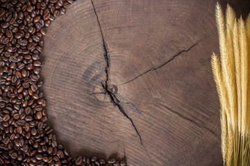 coffee beans on wood stump background
