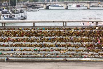 Paris - Love padlocks on the Passerelle Solferino