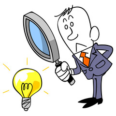 アイデアを検証するビジネスマン