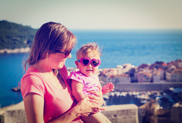 mother and daughter on vacation in croatia