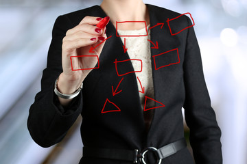 Businesswoman  drawing a virtual  graph