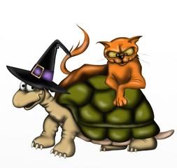 halloween - tartaruga e gatto