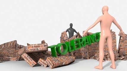 Tolleranza distrugge muro che divide uomo bianco dal nero
