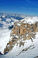 Winter ski resort in the Dolomites