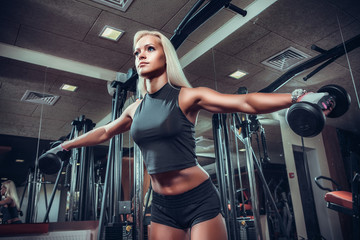 fitness woman doing exercises with dumbbell in the gym.