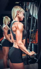Fitness girl in black sport wear with perfect body in gym exerci