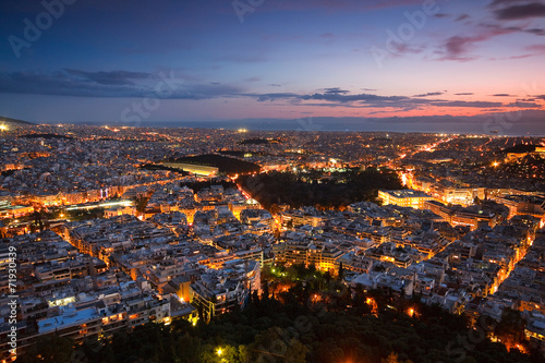 Staande foto Athene View of Athens from Lycabettus hill, Greece.