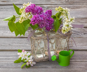 Bouquet of blooming lilacs and apple trees