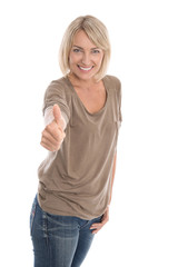 Mature woman giving thumbs up sign isolated on white background.