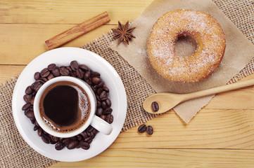 Sweet donut and coffee