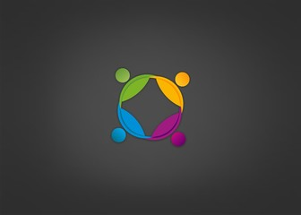 Abstract logo Team Work icon Circle busines Patnership  vector.