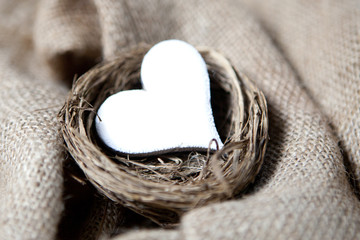 coeur blanc dans un nid