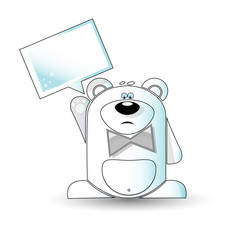 Cartoon illustration of a gloomy white bear with a white sign.
