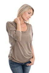 Isolated blond woman with neck pain.