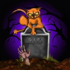 halloween - gatto rosso al cimitero