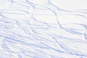Skiing, snow - freeride tracks on powder snow