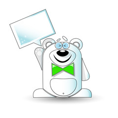 Cartoon illustration of happy white bear with a white sign.