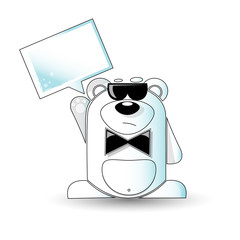 Cartoon illustration of mysterious white bear with a white sign.
