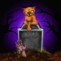 halloween - gatto al cimitero