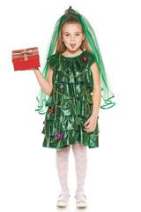 Girl in Christmas tree costume