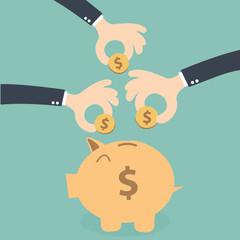 Hands business together  saving money on the piggybank