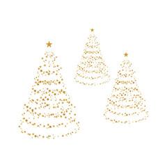 Bäume aus goldenen Sternen