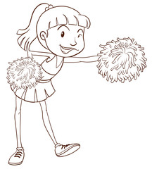 A plain sketch of a cheerer with pompoms