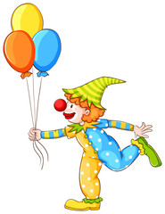 A sketch of a clown holding three balloons