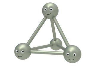 abstract 3d molecule smiley symbols
