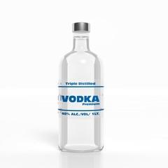 3D vodka transparent glass bottle isolated on white