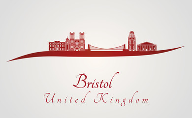 Bristol skyline in red