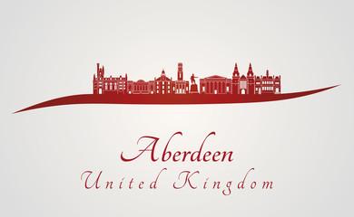 Aberdeen skyline in red