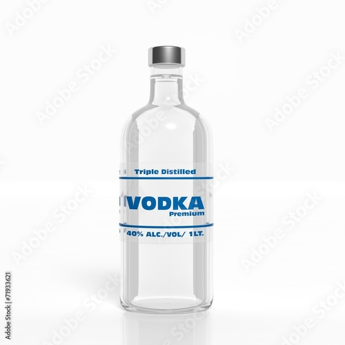 3D vodka transparent glass bottle isolated on white - 71933621