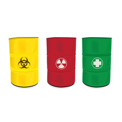 colorfu barrel with a radioactive warning label