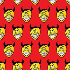 Devil heads. Seamless pattern.
