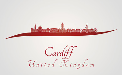 Cardiff skyline in red
