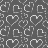 Grunge Valentine hearts. Seamless vector pattern.