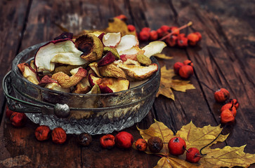 dried fruits of sliced apples autumn varieties