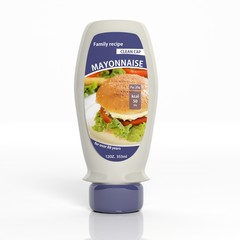 3D mayonnaise plastic white bottle isolated on white